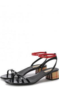 Кожаные босоножки на устойчивом каблуке Burberry