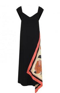 Платье из вискозы с контрастной оборкой Dries Van Noten