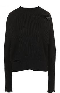 Пуловер фактурной вязки из смеси хлопка и шерсти Helmut Lang