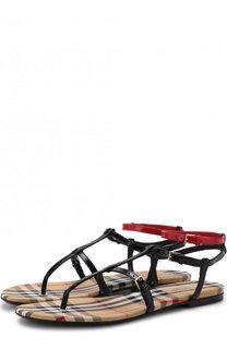 Кожаные сандалии с контрастным ремешком Burberry