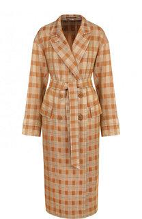 Пальто в клетку из  смеси хлопка и вискозы с шелком Dries Van Noten