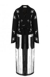 Полупрозрачное пальто с поясом и контрастной отделкой Dries Van Noten