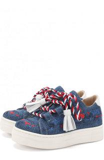 Текстильные кеды с вышивкой и декоративной шнуровкой с кисточками Ermanno Scervino