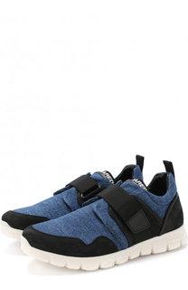 Текстильные кроссовки с замшевой отделкой и застежками велькро Dsquared2