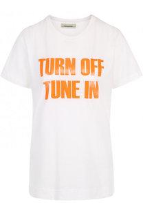 Однотонная футболка с круглым вырезом и контрастной надписью By Malene Birger