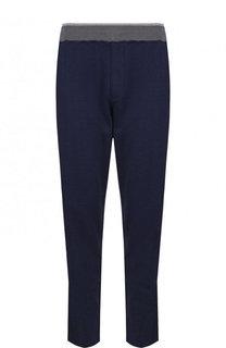 Хлопковые брюки прямого кроя с поясом на резинке Ermenegildo Zegna