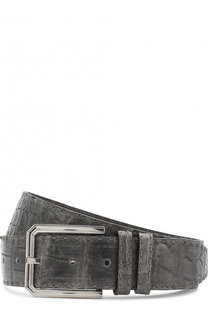Ремень из кожи крокодила с металлической пряжкой Kiton