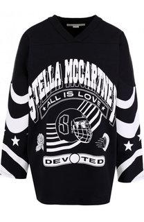 Хлопковый пуловер свободного кроя с принтом Stella McCartney