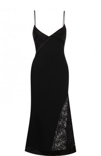 Приталенное платье-комбинация с кружевной вставкой David Koma