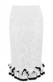 Хлопковая юбка-карандаш с контрастными оборками Roland Mouret