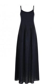 Однотонное льняное платье-макси Emporio Armani