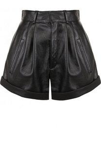 Однотонные кожаные мини-шорты Saint Laurent
