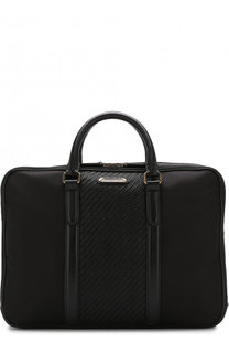 Текстильная сумка для ноутбука с кожаной отделкой и плечевым ремнем Ermenegildo Zegna