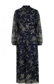 Шелковое приталенное платье с воротником аскот и принтом Poustovit