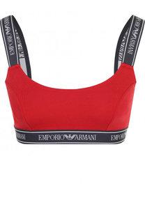 Хлопковый бюстгальтер с логотипом бренда Emporio Armani