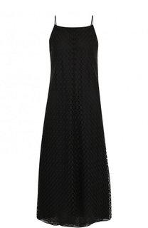Однотонное кружевное платье-миди Emporio Armani