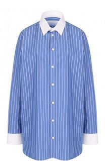 Хлопковая блуза в контрастную полоску Maison Margiela