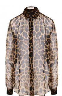 Шелковая блуза свободного кроя с леопардовым принтом Saint Laurent
