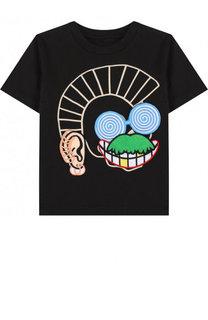 Хлопковая футболка с аппликациями Stella McCartney
