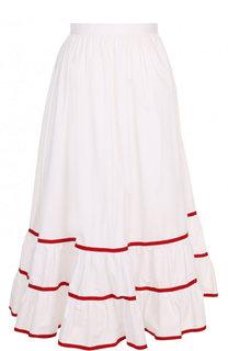 Хлопковая юбка-миди с оборкой и контрастной отделкой Stella Jean