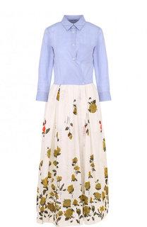 Хлопковое платье-рубашка с принтованной юбкой sara roka