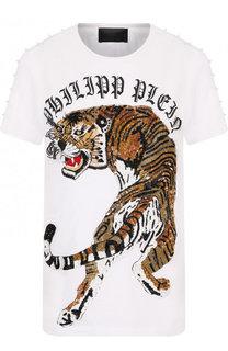 Хлопковая футболка с принтом и пайетками Philipp Plein
