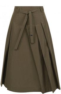 Однотонная хлопковая юбка-миди с поясом Loro Piana