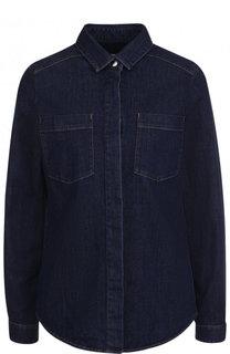 Приталенная джинсовая блуза с накладными карманами BOSS