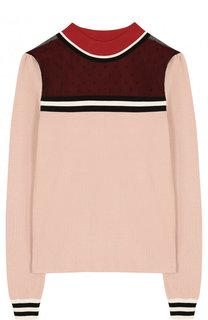 Пуловер из вискозы с круглым вырезом и кружевной вставкой REDVALENTINO
