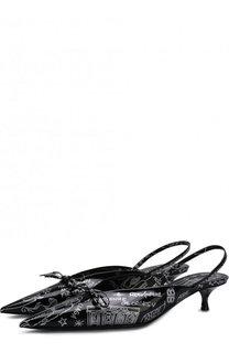 Кожаные туфли Knife с принтом на каблуке kitten heel Balenciaga