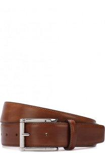 Кожаный ремень с металлической пряжкой Santoni