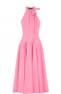 Приталенное шелковое платье-миди с бантом CALVIN KLEIN 205W39NYC