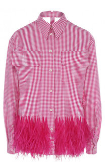 Хлопковая блуза в клетку с перьевой отделкой No. 21