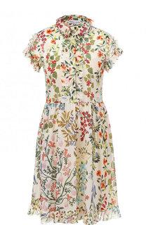 Шелково платье-рубашка с цветочным принтом REDVALENTINO