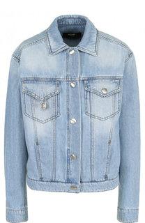 Джинсовая куртка с принтованной спинкой и потертостями Versus Versace