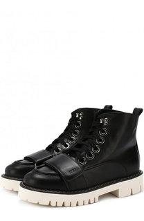 Высокие кожаные ботинки на шнуровке No. 21