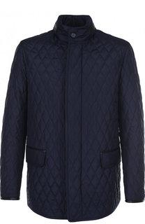 Шелковая стеганая куртка на молнии с воротником-стойкой Brioni