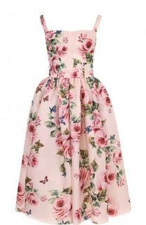 Шелковое приталенное платье-миди с цветочным принтом Dolce & Gabbana