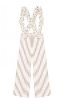 Укороченные брюки прямого кроя в полоску с декоративными подтяжками Il Gufo
