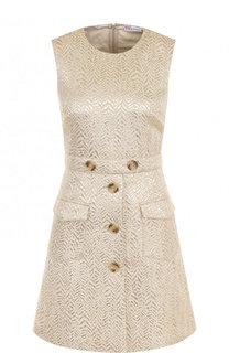 Жаккардовое приталенное мини-платье без рукавов REDVALENTINO