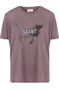 Футболка свободного кроя с логотипом бренда Saint Laurent