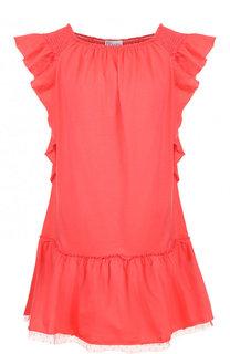 Хлопковое мини-платье с оборками REDVALENTINO