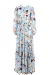 Приталенное шелковое платье-макси с принтом Dolce & Gabbana