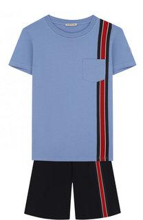 Хлопковый комплект из футболка и шорт Moncler Enfant
