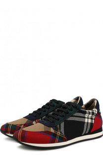 Текстильные кроссовки с принтом на шнуровке Burberry
