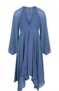 Шелковое мини-платье свободного кроя Chloé