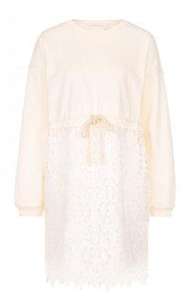 Хлопковое мини-платье с кружевной юбкой See by Chloé