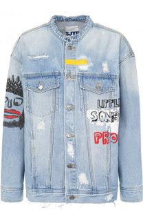Джинсовая куртка свободного кроя с принтом и потертостями Steve J & Yoni P