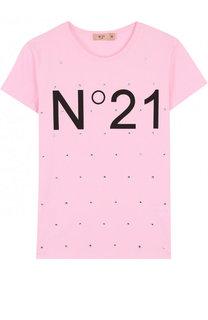 Хлопковая футболка с логотипом бренда и стразами No. 21