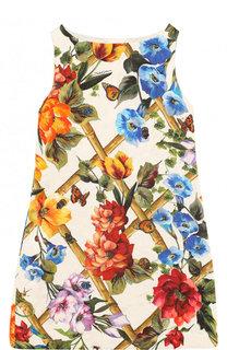 Мини-платье из хлопка и шелка А-силуэта с принтом Dolce & Gabbana